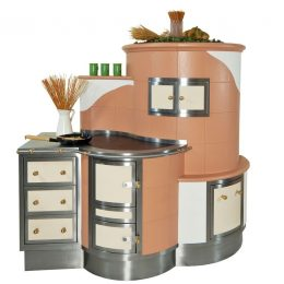 Aufsatzherd mit Bratrohr, Holzwagen und angebautem Ladenstock mit Edelstahl-Arbeitsfläche