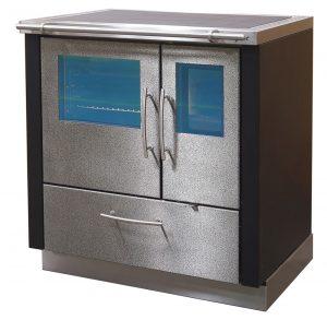 Küchenherd Oskar 800, Heiz- und Bratrohrtür mit Sichtfenster, Seitenwände optional anthrazit beschichtet