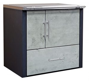 Küchenherd Oskar 900-sl, Dekor: cxBeton, Seitenwände anthrazit grau