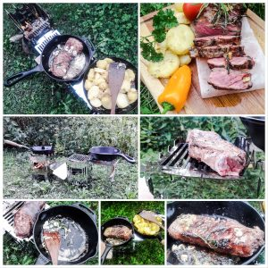 MoKo mobiler Kocher Collage Steak in Gusspfanne
