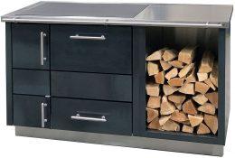 Küchenherd Emilio 850 Dekor: Stahl blank mit angebauter Holzlage